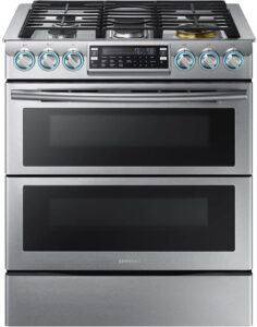 "Samsung Appliance NX58K7850SG 30"" Gas Freestanding Range with 5 Burners, Sealed Burner, 5.8 Cu. ft. Primary Oven Capacity, in Black Stainless Steel"